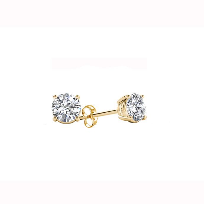 IGI Certified De Couer Yellow Gold 1ct TDW Diamond Stud Earrings for Women set