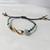 Friendship Gift, Gold Infinity Symbol Bracelet, Aqua Beads, Gold Beaded Seafoam