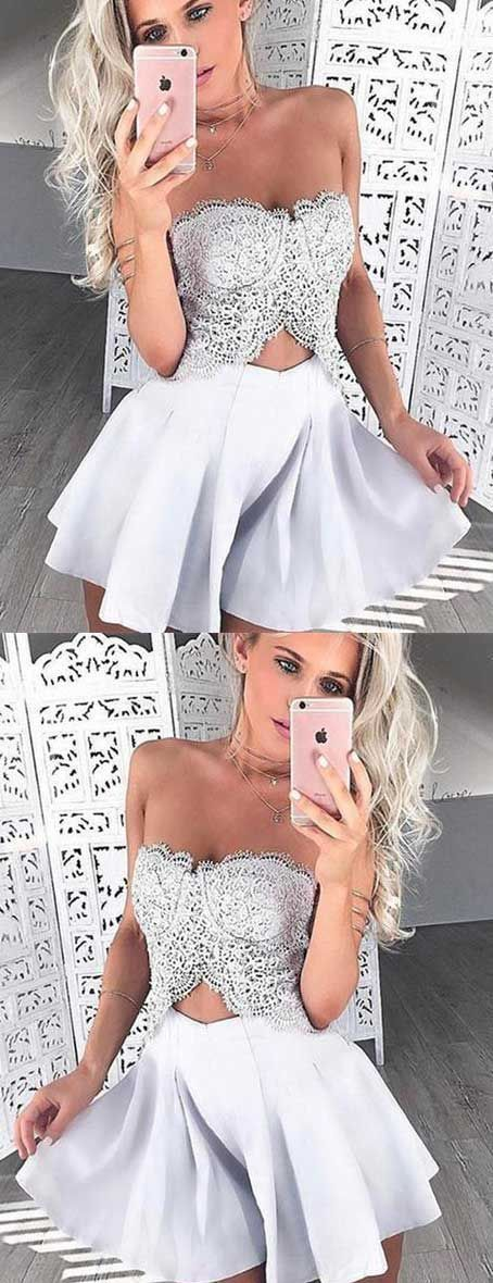 unique homecoming dress, strapless homecoming dress, lace homecoming dress 1660