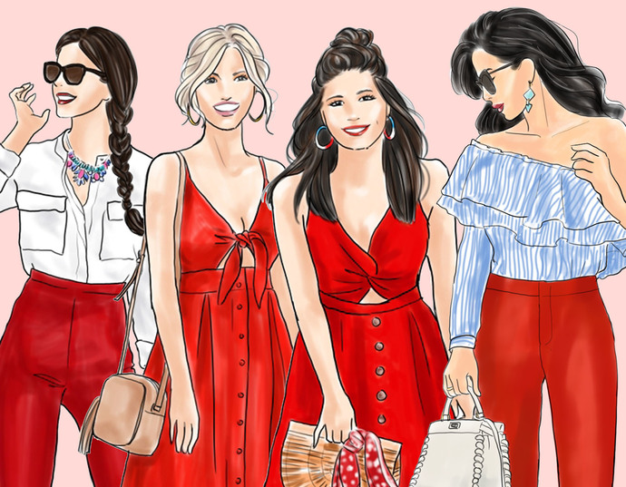 Watercolour fashion illustration clipart - Girls in red - Light Skin