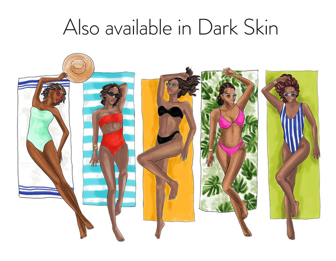 Watercolour fashion illustration clipart - Girls Sunbathing - Light Skin