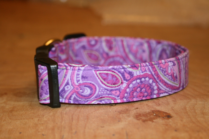 Purple Pink Paisley Adjustable Dog & Cat Collars & Martingales & Leashes