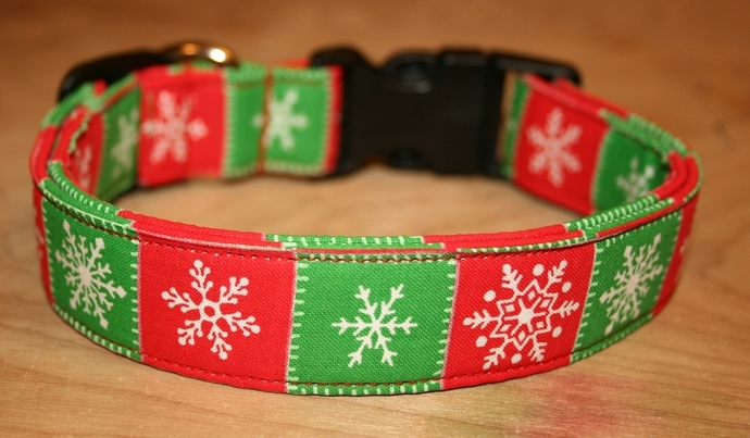 Red Green Snowflakes Christmas Winter Adjustable Dog Collars & Martingales &