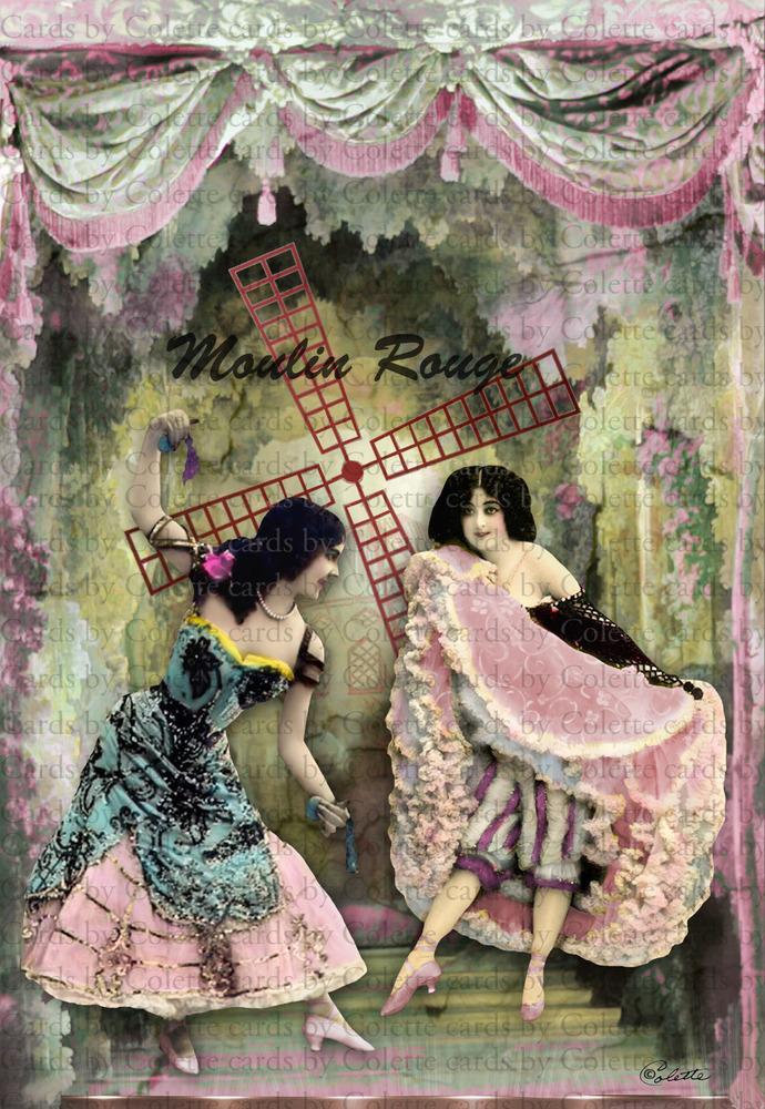 Moulin Rouge Dancers Digital Collage Greeting Card1243
