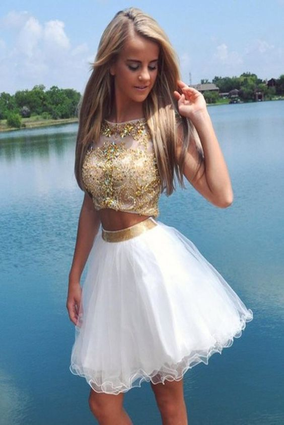 Elegant Crystals Two Piece Cap Sleeves Homecoming Dress BD537