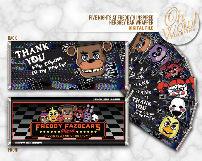 Five Night's at Freddy's Theme Candy Bar Wrapper: Digital File