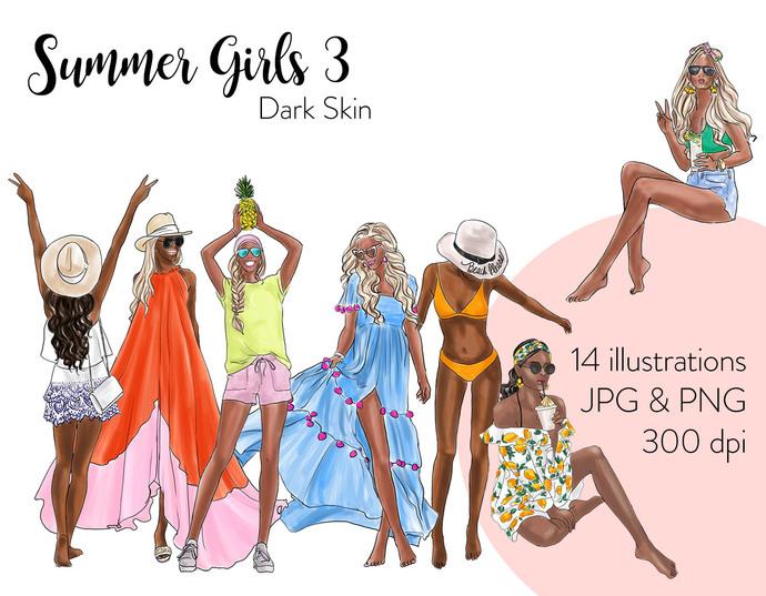 Watercolour fashion illustration clipart - Summer Girls 3 - Dark Skin