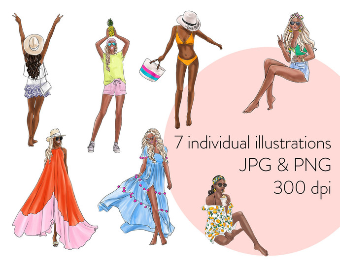 Watercolour fashion illustration clipart - Summer Girls 3 - Dark Skin
