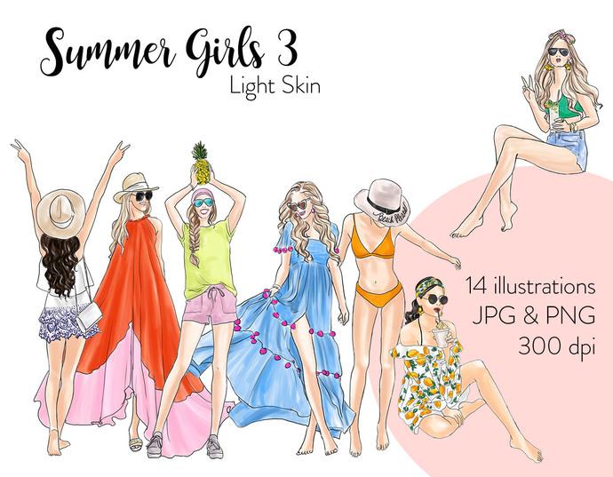 Watercolour fashion illustration clipart - Summer Girls 3 - Light Skin