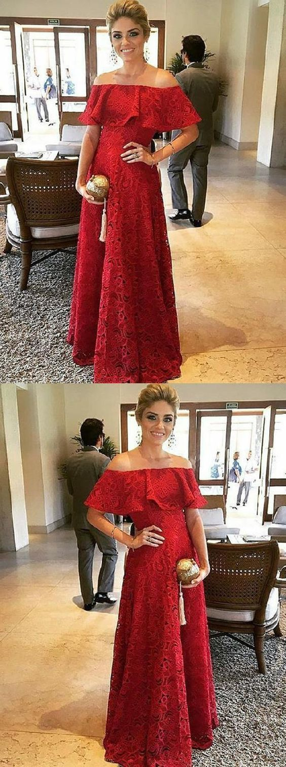2018 Prom Dresses, Red Lace Prom Dresses, Red Prom Dresses, Prom Dresses Lace