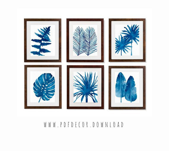 Set of 6 Printable Art, Set of 6 Prints, Tropical by PDFdecor on