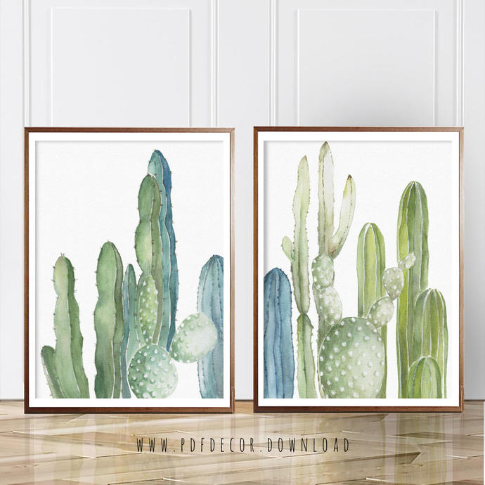 Set of 2 Cactus Prints, Set of 2, Cactus, Set of by PDFdecor on