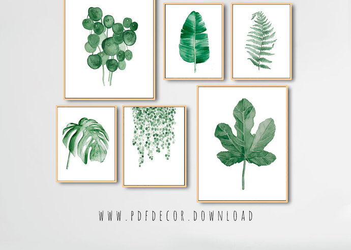 Watercolor Leaves Prints, Set of 6 leaf prints, Set of 6 Prints, Tropical Print,