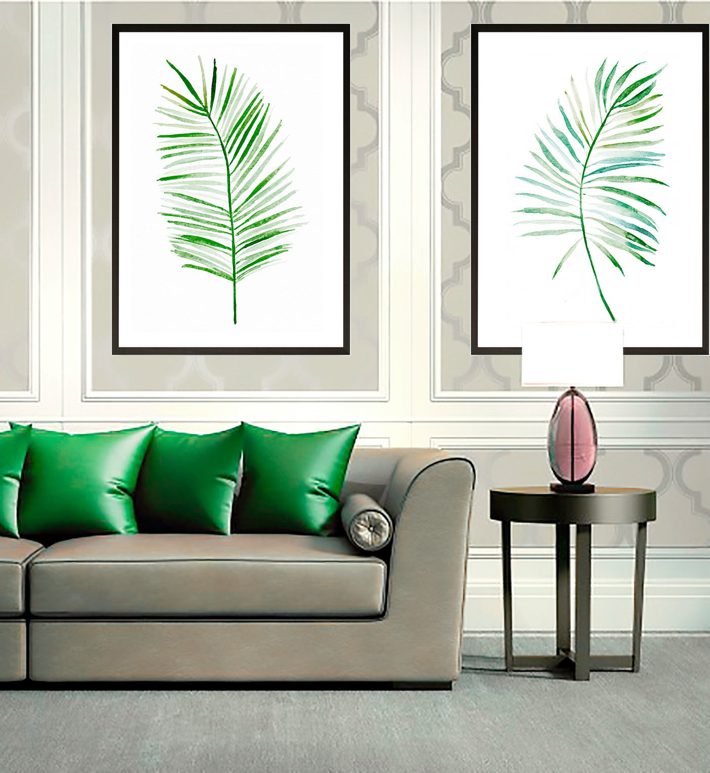 Set of 2 Leaves Prints, Set of 2 Prints, Set of 2 Wall Art, Set of 2 Tropical, Set of 2 Tropical Prints, Watercolor Leaves, Tropical Decor
