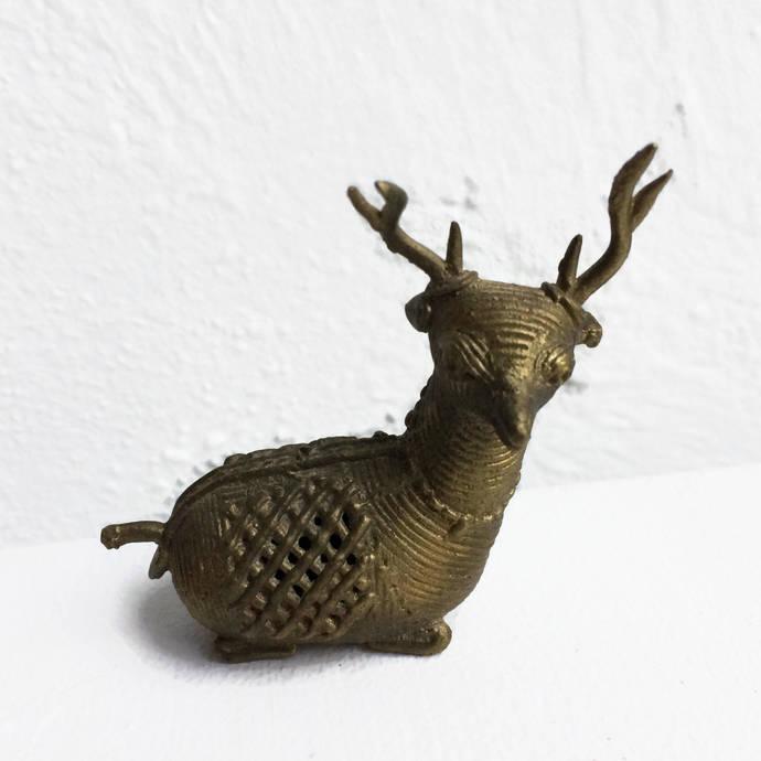 Vintage Brass Reindeer Figurine Brass Deer Christmas Decorations Collectibles
