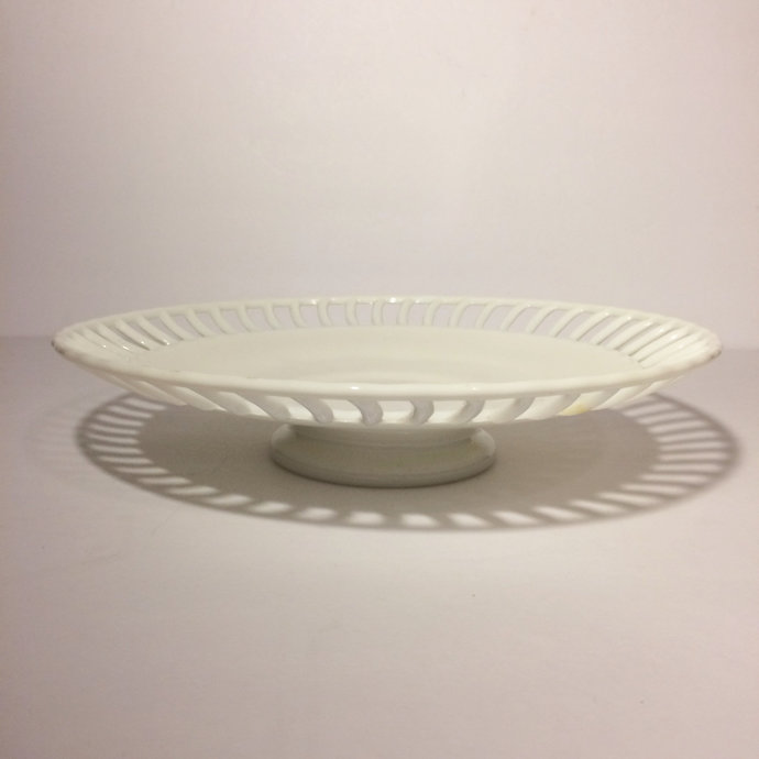 Vintage Milk Glass Pedestal Plate Dessert Servingware Cake Plate Footed Plate