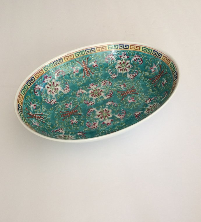 Chinoiserie Bowl Hand Painted Famille Blue Enamel Oval Bowl Turquoise Decorative