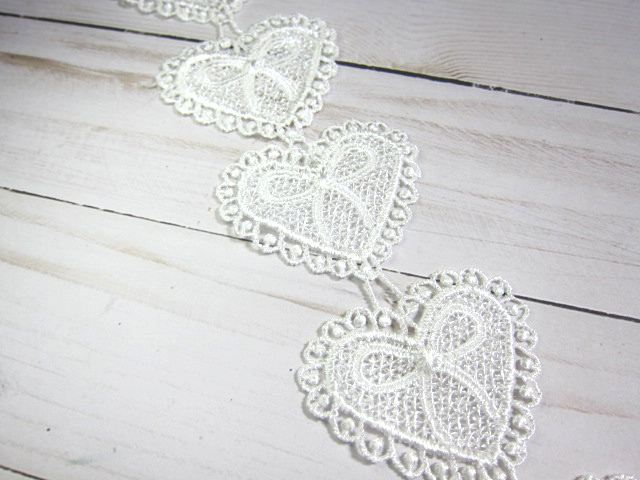 17pcs Heart Venice Applique Lace