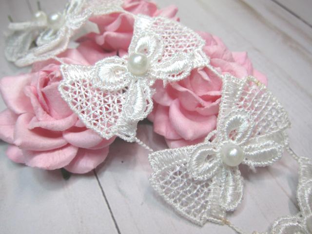 10pcs Double Bow Beaded Venice Applique Lace - Off White