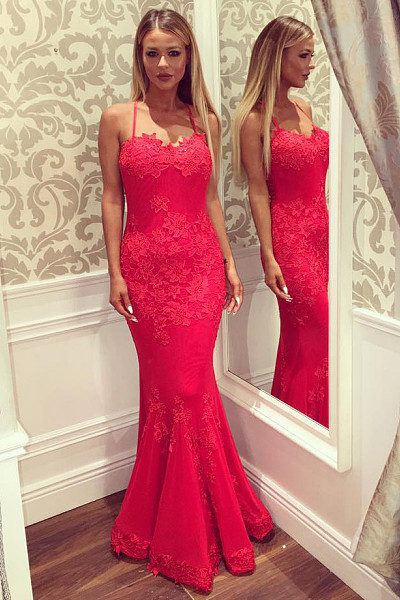 8ac9aa3bca4 Mermaid Sweetheart Straps Red Satin Prom Dress by moddress on Zibbet