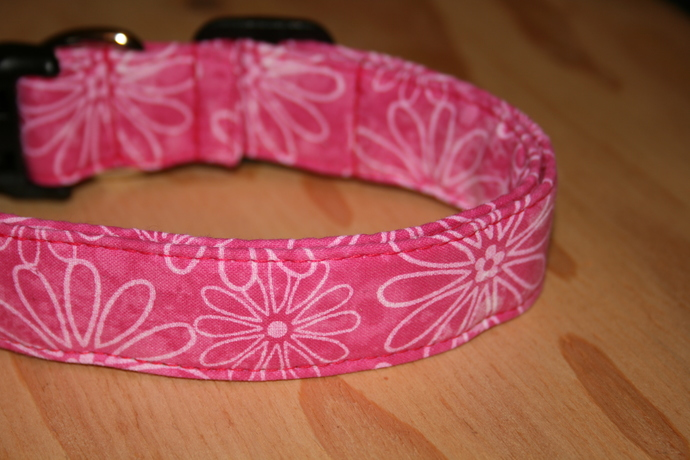 Hot Pink Floral Adjustable Dog & Cat Collars & Martingales & Leashes