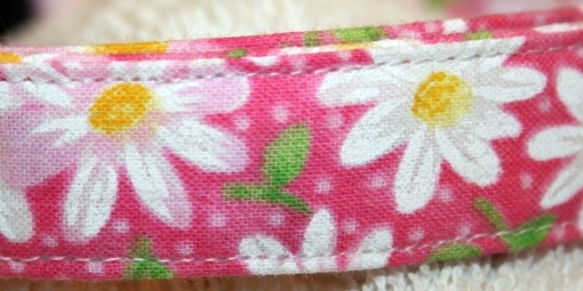 Pink Daisy Adjustable Dog & Cat Collars & Martingales & Leashes