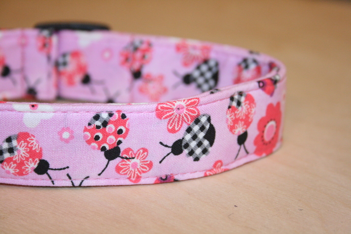 Pink & Red & Black Ladybugs Adjustable Dog & Cat Collars & Martingales & Leashes