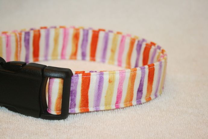 Purple Orange Yellow stripes Adjustable Dog & Cat Collars & Martingales &