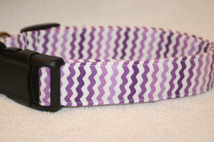 Purple Ric Rac Stripes Adjustable Dog & Cat Collars & Martingales & Leashes