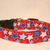 Red with Blue & White Stars Patriotic Adjustable Dog Collars & Martingales &
