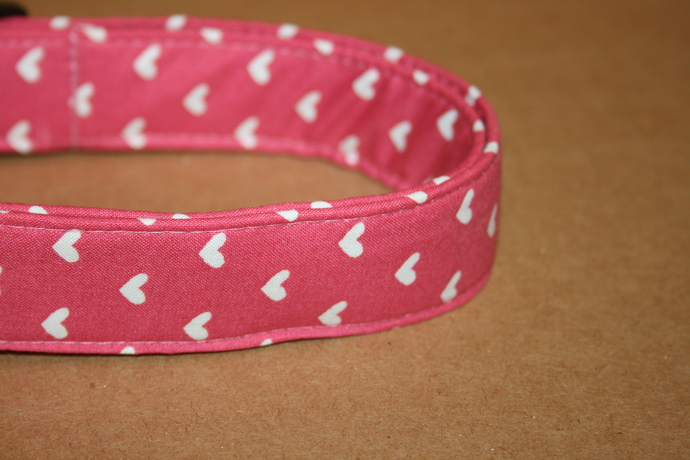 Pink & White Hearts Valentine Adjustable Dog Collars & Martingales & Leashes