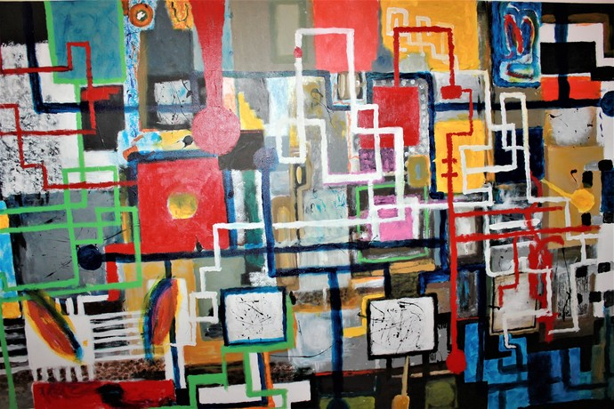 """LARGE ABSTRACT PAINTING"" 48"" X 72"" in AWESOME LARGE ABSTRACT PAINTING HANDMADE"