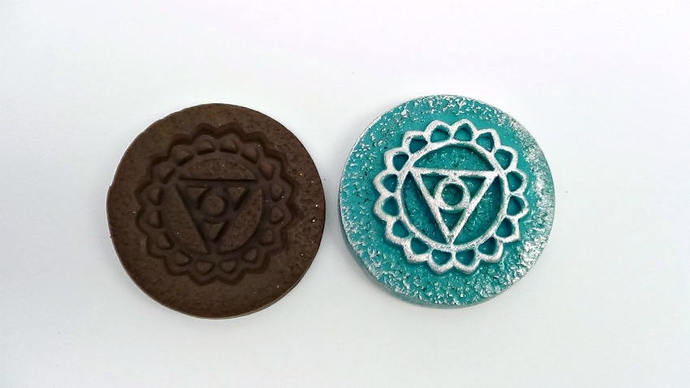 36 mm Chakra Mold - Set of 7 plus bonus - Rigid Mold - For Polymer Clay,