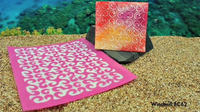Beadcomber Silk Screen - Windmills Silkscreen Design BC62 for polymer clay,