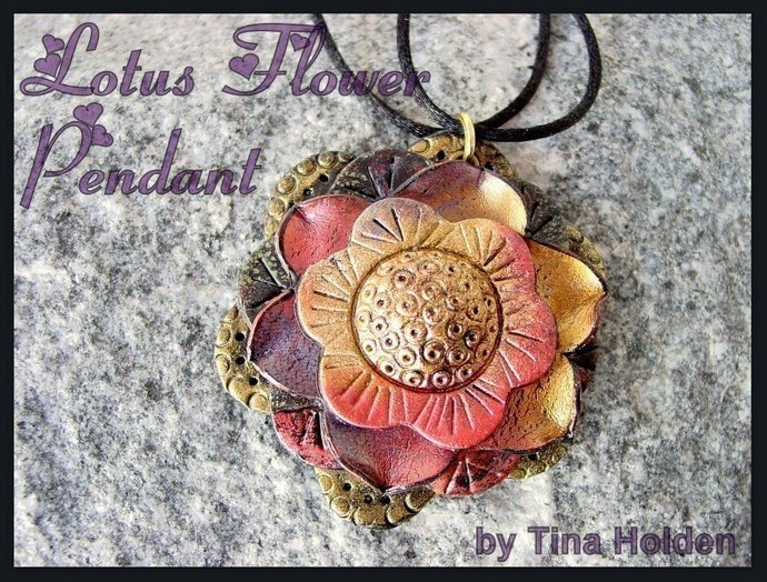 Lotus Flower Pendant - Polymer Clay Tutorial - Digital PDF Download
