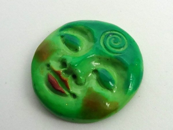 Art Doll Face Cabochon in green turquoise teal - 30mm