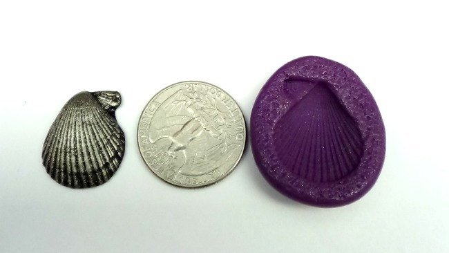 Silicone Flex Mold - 22mm Scallop Shell - for Polymer Clay, Resin, Clay,
