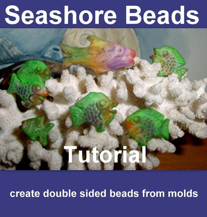 2 sided Sea Shore Beads with coloring technique -  Polymer Clay Tutorial -
