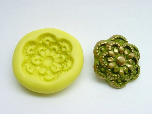 Silicone Rubber Push Mold - make Buttons, Beads, Cabochons in Vintage floral