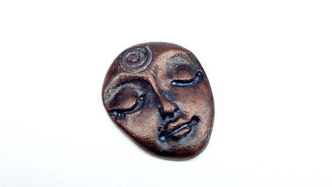 Art Doll Face Cabochon with symbolic spiral in antique Bronze finish - handmade