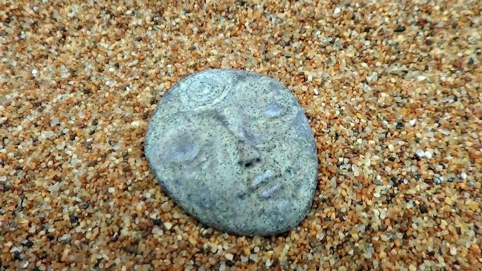 Art Doll Face Cabochon in Faux Granite Stone - handmade
