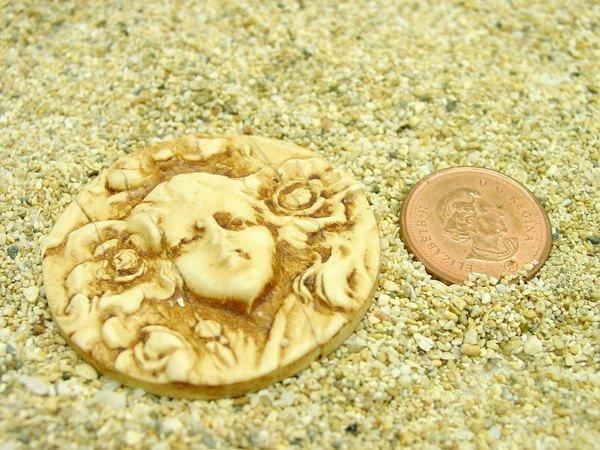 40 mm round Art Nouveau Cameo Cabochon - handmade