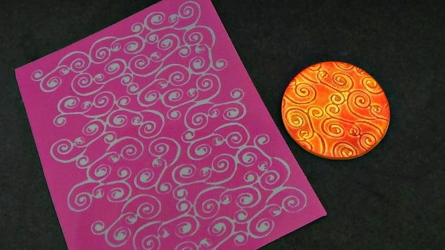 Beadcomber Silk Screen - Spirals of Klimt Silkscreen for Polymer clay, Paper
