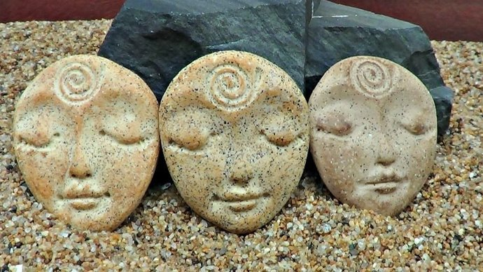 Trio - Art Doll Face Cabochon in Faux Stone - handmade