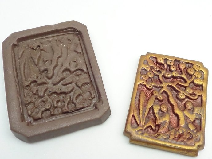 Antique Chinese Garden Scene Mold Style 2 - Polymer Clay
