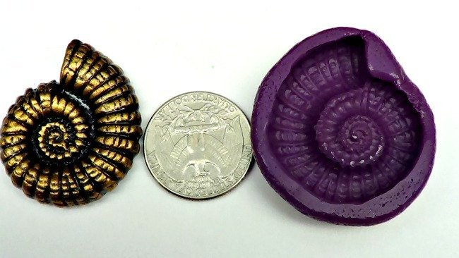 Silicone Flex Mold - 37mm Nautilus or Ammonite - for Polymer Clay, Resin, Clay,