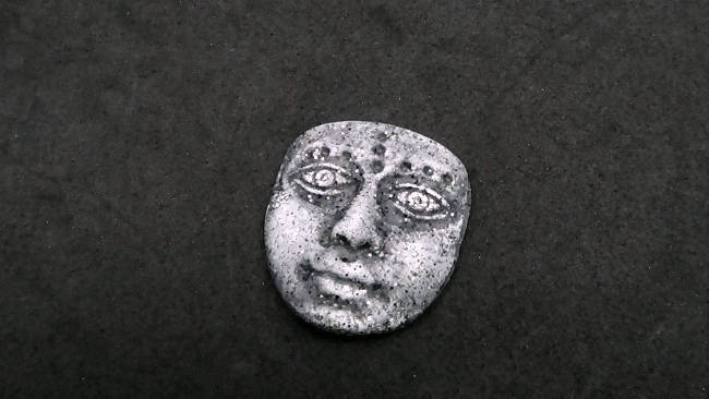 Artifact mask - Art Doll Face Cabochon in faux basalt or granite gray - handmade