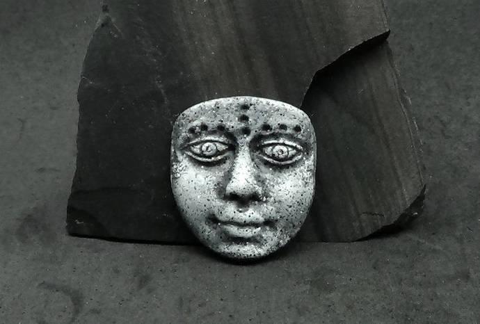 Artifact mask - Art Doll Face Cabochon in faux basalt or granite gray - handmade