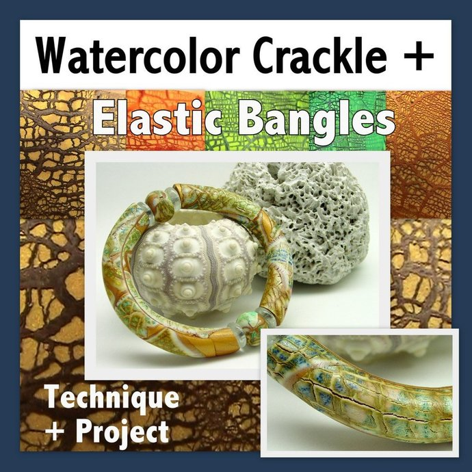 Polymer Clay Tutorial - Crackled Watercolor Bamboo Bracelets - Digital PDF File