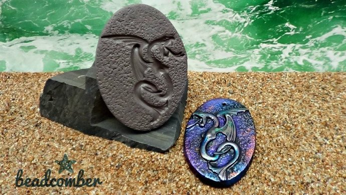 Sea Serpent Mold with textured background - Polymer Clay - for polymer clay,